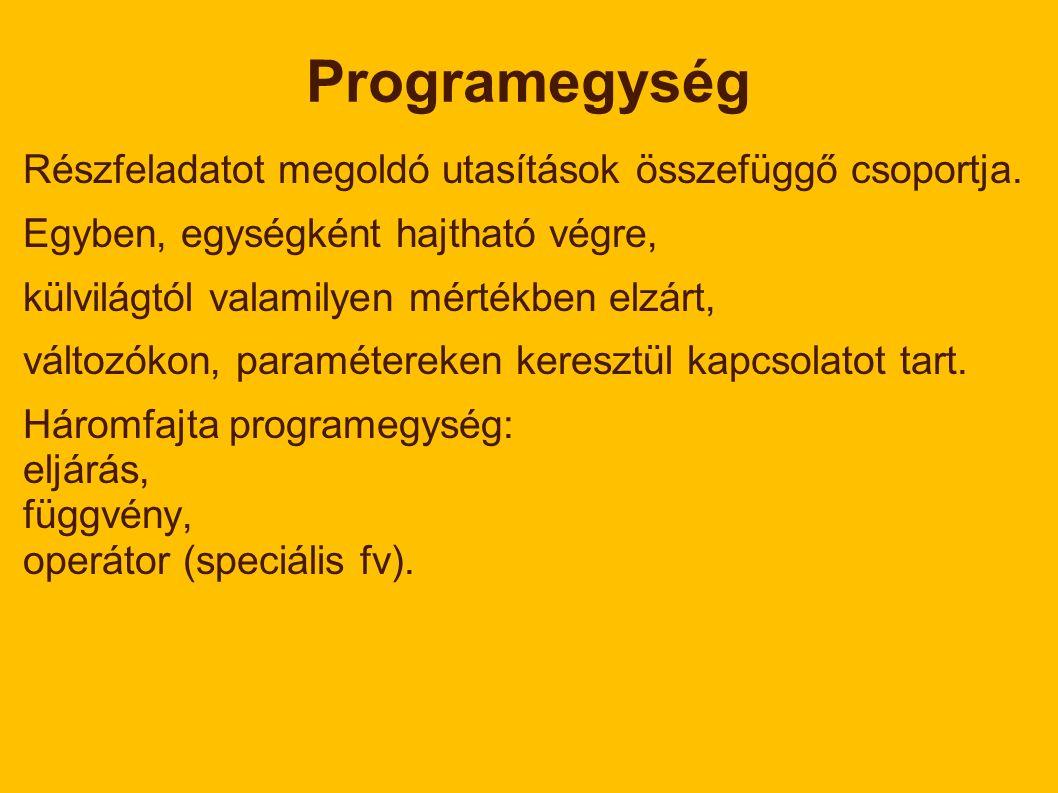 Programegység Részfeladatot megoldó utasítások összefüggő csoportja.
