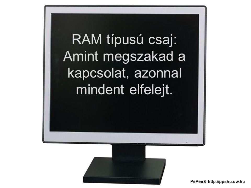 RAM típusú csaj: Amint megszakad a kapcsolat, azonnal mindent elfelejt. PéPéeS http://ppshu.uw.hu
