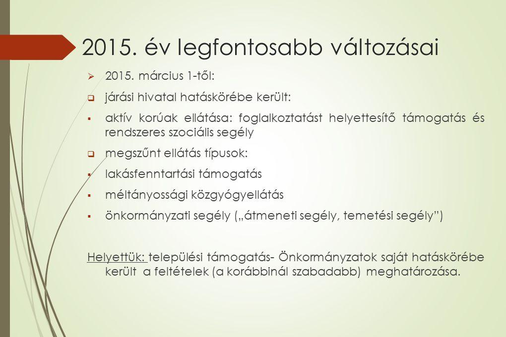 2015. év legfontosabb változásai  2015. március 1-től:  járási hivatal hatáskörébe került:  aktív korúak ellátása: foglalkoztatást helyettesítő tám