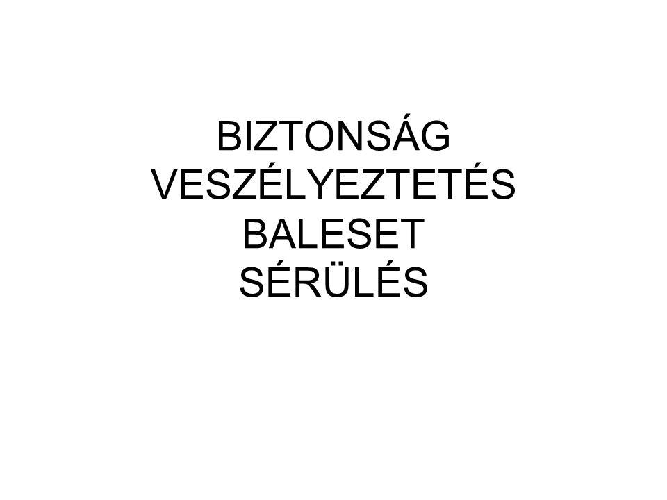 BIZTONSÁG VESZÉLYEZTETÉS BALESET SÉRÜLÉS