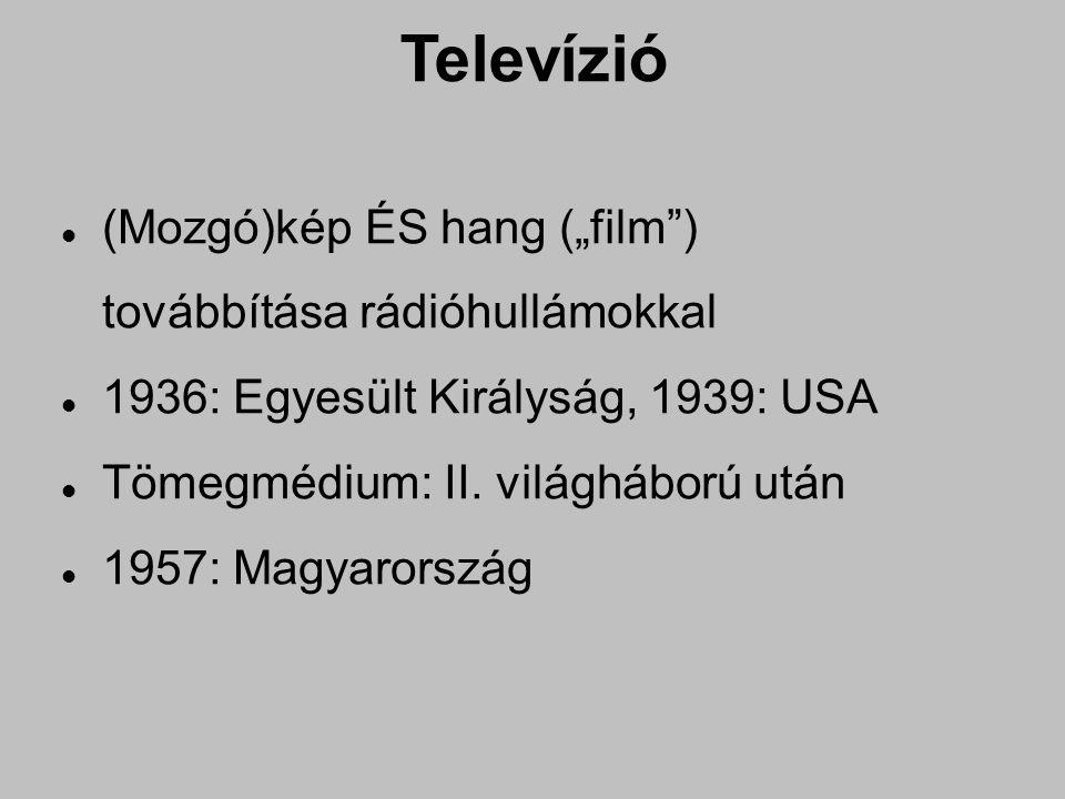 """Televízió (Mozgó)kép ÉS hang (""""film ) továbbítása rádióhullámokkal 1936: Egyesült Királyság, 1939: USA Tömegmédium: II."""