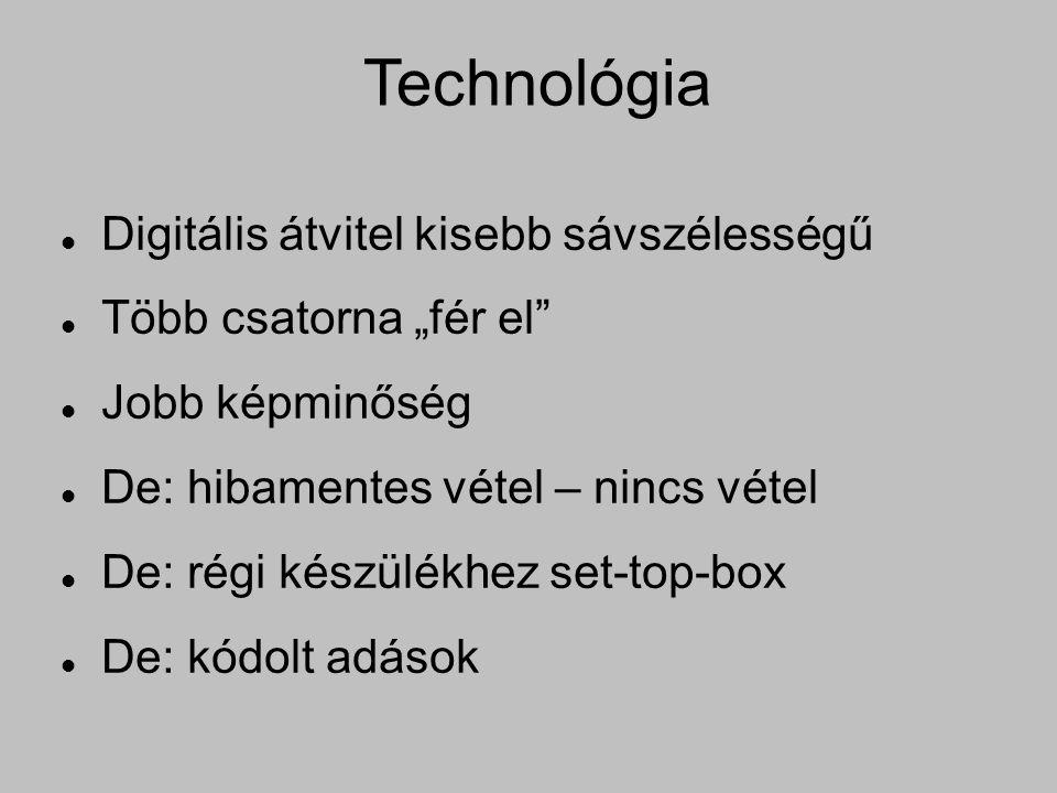 """Technológia Digitális átvitel kisebb sávszélességű Több csatorna """"fér el Jobb képminőség De: hibamentes vétel – nincs vétel De: régi készülékhez set-top-box De: kódolt adások"""