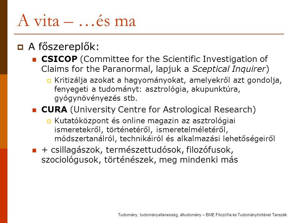 A vita – …és ma  A főszereplők: CSICOP (Committee for the Scientific Investigation of Claims for the Paranormal, lapjuk a Sceptical Inquirer)  Kritizálja azokat a hagyományokat, amelyekről azt gondolja, fenyegeti a tudományt: asztrológia, akupunktúra, gyógynövényezés stb.