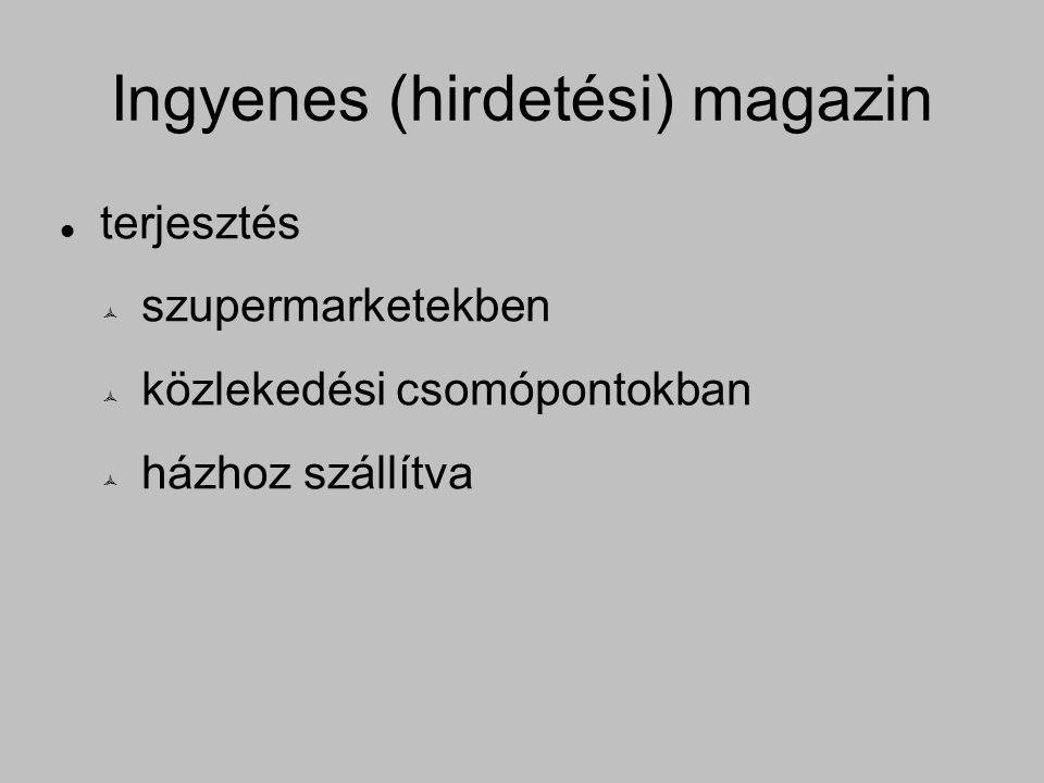 Ingyenes (hirdetési) magazin terjesztés  szupermarketekben  közlekedési csomópontokban  házhoz szállítva
