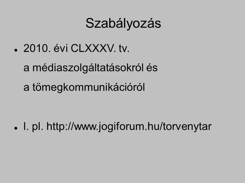 Szabályozás 2010. évi CLXXXV. tv. a médiaszolgáltatásokról és a tömegkommunikációról l.