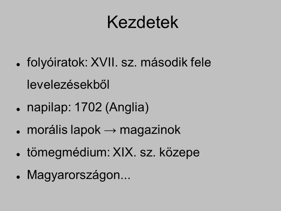 Kezdetek folyóiratok: XVII. sz.