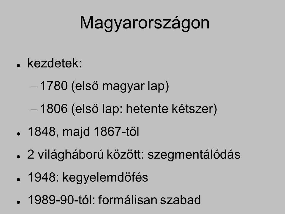 Magyarországon kezdetek: – 1780 (első magyar lap) – 1806 (első lap: hetente kétszer) 1848, majd 1867-től 2 világháború között: szegmentálódás 1948: kegyelemdöfés 1989-90-tól: formálisan szabad