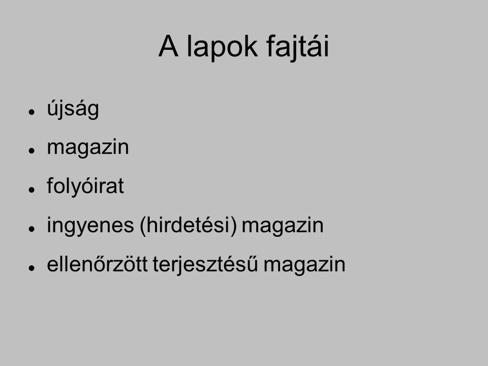 A lapok fajtái újság magazin folyóirat ingyenes (hirdetési) magazin ellenőrzött terjesztésű magazin