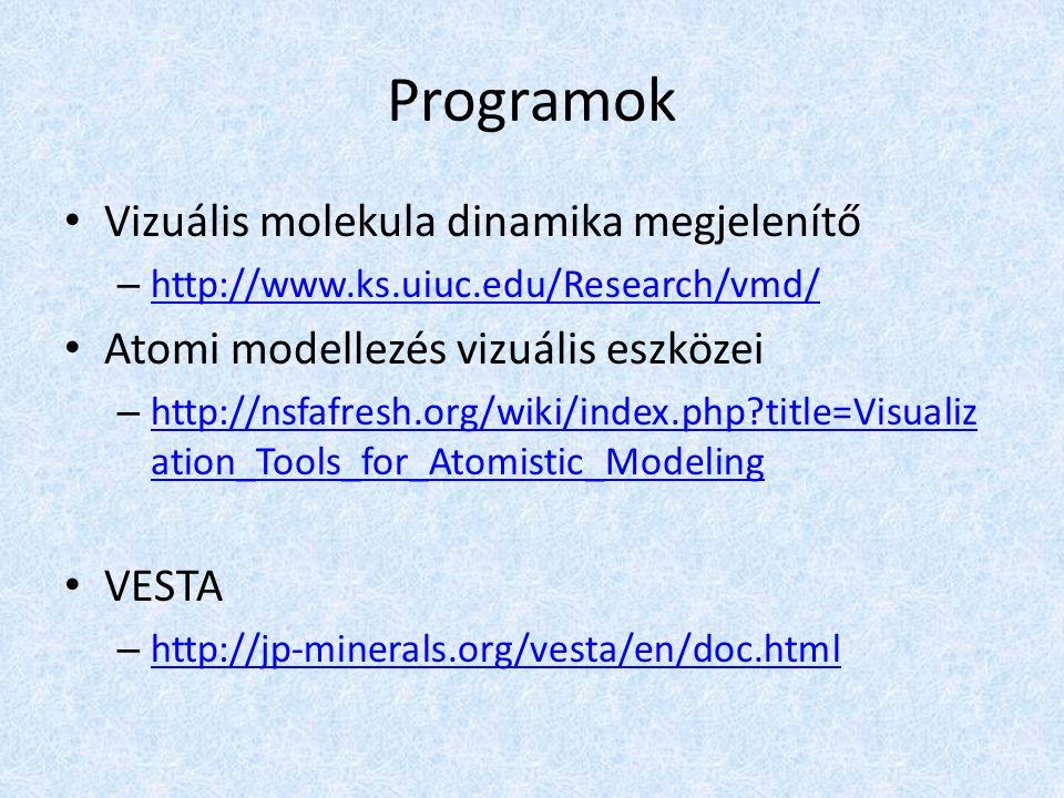 Programok Vizuális molekula dinamika megjelenítő – http://www.ks.uiuc.edu/Research/vmd/ http://www.ks.uiuc.edu/Research/vmd/ Atomi modellezés vizuális eszközei – http://nsfafresh.org/wiki/index.php title=Visualiz ation_Tools_for_Atomistic_Modeling http://nsfafresh.org/wiki/index.php title=Visualiz ation_Tools_for_Atomistic_Modeling VESTA – http://jp-minerals.org/vesta/en/doc.html http://jp-minerals.org/vesta/en/doc.html