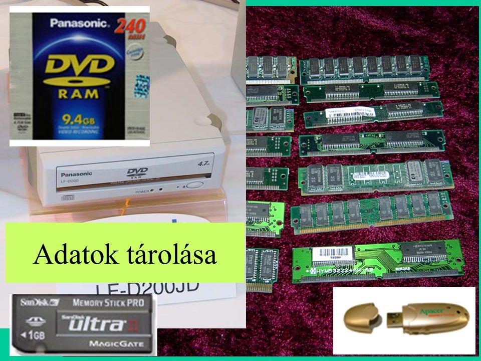 Tárolók Félvezető tárak RAM Operatív tár Cache tár Regiszterek CMOS RAM ROM BIOS Mágnestárak Mágneslemez Hajlékony lemez Merevlemez MágnesszalagMágneskártya Optikai tárak CD DVD