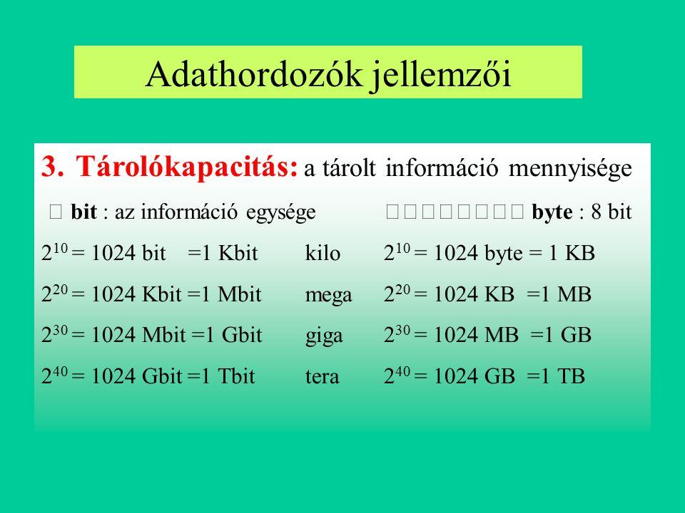 Adathordozók jellemzői Szekvenciális (sorrendi) hozzáférés: az adat (csak) a bevitel sorrendjében olvasható ki, a hozzáférési idő az adat helyétől függ (pl.:mágnesszalag) Közvetlen (tetszőleges) hozzáférés: a tároló tetszőleges indexelt helyére írhatunk és tetszőleges helyről olvashatunk, a hozzáférési idő független az adat helyétől (pl.: félvezetőtárak) Indexszekvenciális hozzáférés: az adatok azonos hosszúságú indexelt blokkokban vannak, a blokkok közvetlen hozzáférésűek, de a blokkon belül az adat csak szekvenciálisan írható-olvasható (pl.: mágneslemez) 4.Adathozzáférés