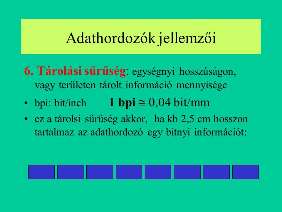 6. Tárolási sűrűség: egységnyi hosszúságon, vagy területen tárolt információ mennyisége bpi: bit/inch 1 bpi  0,04 bit/mm ez a tárolsi sűrűség akkor,