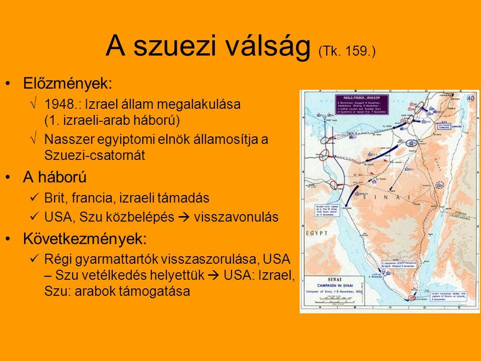 A szuezi válság (Tk. 159.) Előzmények: √1948.: Izrael állam megalakulása (1.