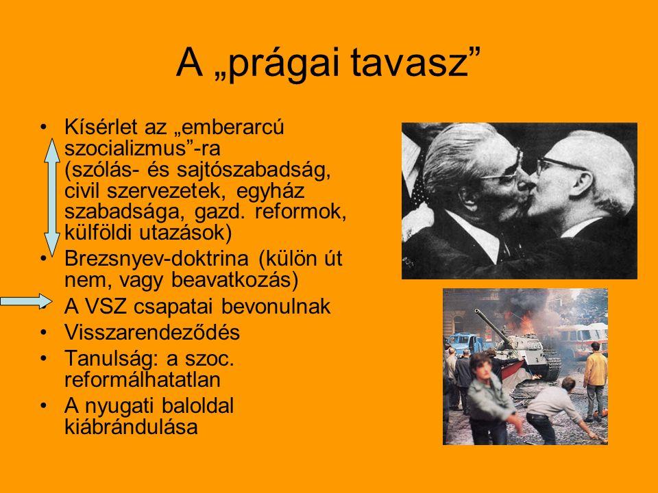 """A """"prágai tavasz Kísérlet az """"emberarcú szocializmus -ra (szólás- és sajtószabadság, civil szervezetek, egyház szabadsága, gazd."""