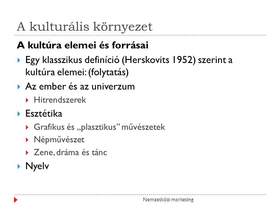 """A kulturális környezet Nemzetközi marketing A kultúra elemei és forrásai  Egy klasszikus definíció (Herskovits 1952) szerint a kultúra elemei: (folytatás)  Az ember és az univerzum  Hitrendszerek  Esztétika  Grafikus és """"plasztikus művészetek  Népművészet  Zene, dráma és tánc  Nyelv"""