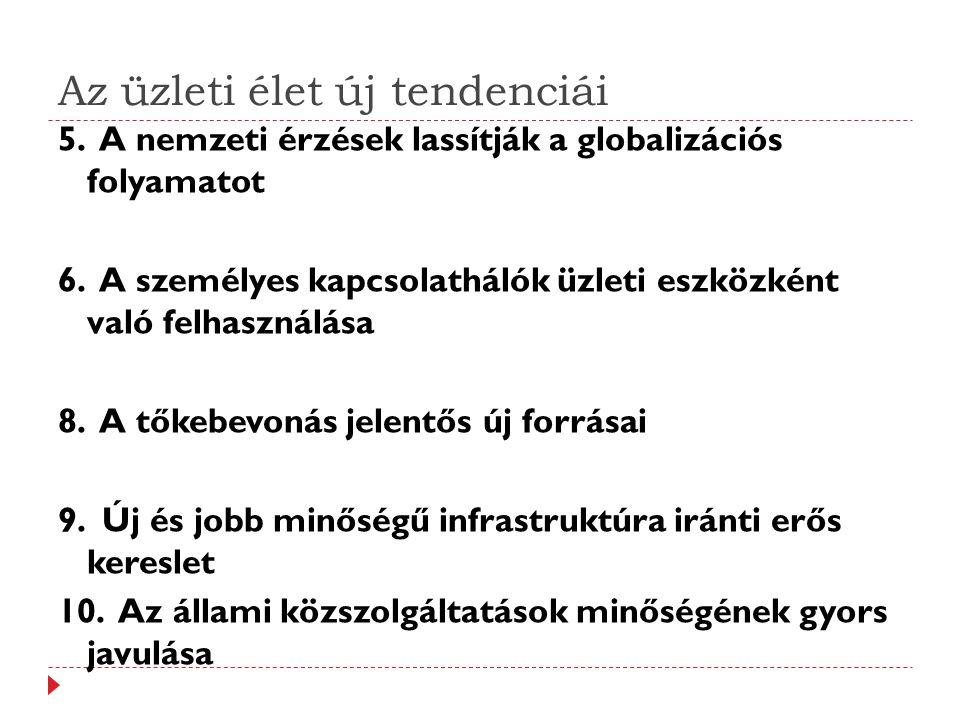 Az üzleti élet új tendenciái 5. A nemzeti érzések lassítják a globalizációs folyamatot 6.