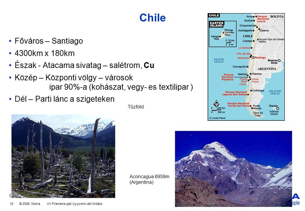 Company Confidential 10 © 2005 Nokia V1-Filename.ppt / yyyy-mm-dd / Initials Chile Főváros – Santiago 4300km x 180km Észak - Atacama sivatag – salétrom, Cu Közép – Központi völgy – városok ipar 90%-a (kohászat, vegy- es textilipar ) Dél – Parti lánc a szigeteken Tűzföld Aconcagua 6959m (Argentina)