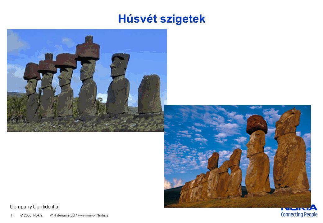 Company Confidential 11 © 2005 Nokia V1-Filename.ppt / yyyy-mm-dd / Initials Húsvét szigetek