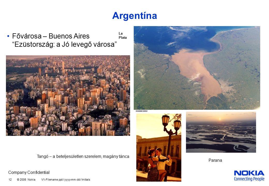 Company Confidential 12 © 2005 Nokia V1-Filename.ppt / yyyy-mm-dd / Initials Argentína Fővárosa – Buenos Aires Ezüstország: a Jó levegő városa Parana La Plata Tangó – a beteljesületlen szerelem, magány tánca