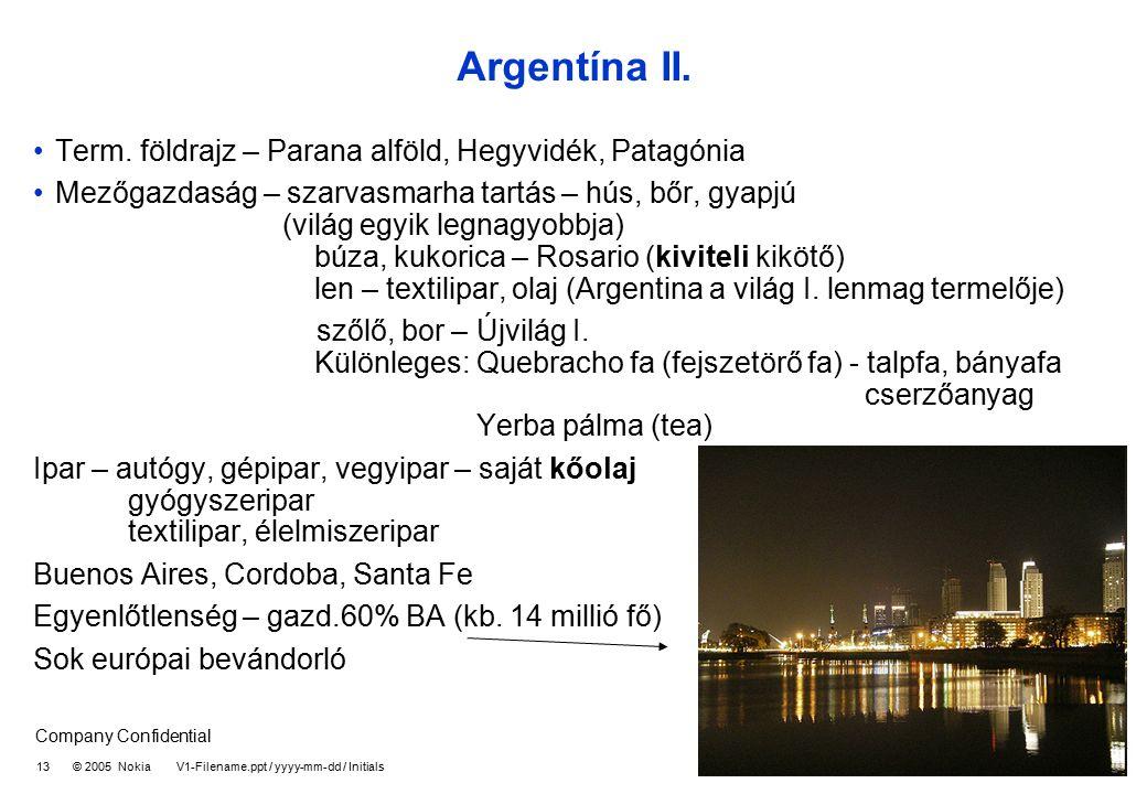 Company Confidential 13 © 2005 Nokia V1-Filename.ppt / yyyy-mm-dd / Initials Argentína II. Term. földrajz – Parana alföld, Hegyvidék, Patagónia Mezőga