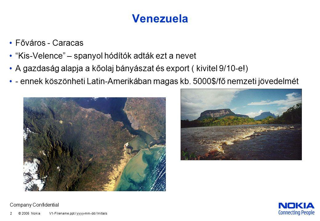 Company Confidential 3 © 2005 Nokia V1-Filename.ppt / yyyy-mm-dd / Initials Ecuador Főváros: Quito – az Egyenlítőn, a napéjegyenlőség országa A gazdaság alapja a banán és a kőolaj Jellemző a vulkánosság Galapagos szigetek