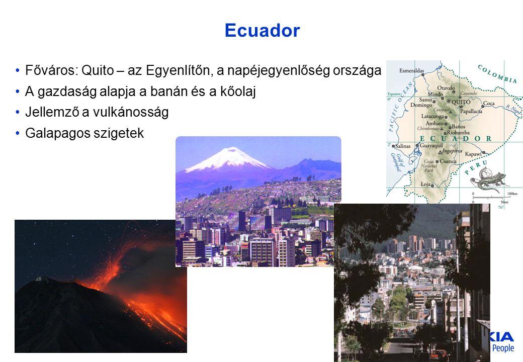 Company Confidential 3 © 2005 Nokia V1-Filename.ppt / yyyy-mm-dd / Initials Ecuador Főváros: Quito – az Egyenlítőn, a napéjegyenlőség országa A gazdas