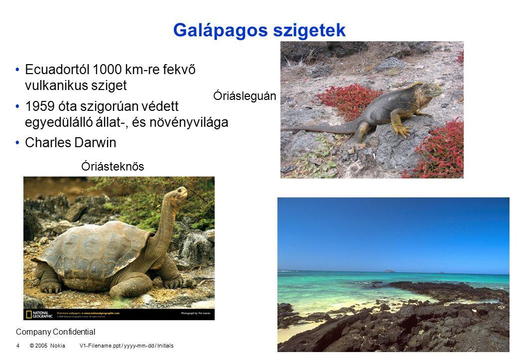 Company Confidential 4 © 2005 Nokia V1-Filename.ppt / yyyy-mm-dd / Initials Galápagos szigetek Ecuadortól 1000 km-re fekvő vulkanikus sziget 1959 óta szigorúan védett egyedülálló állat-, és növényvilága Charles Darwin Óriásteknős Óriásleguán