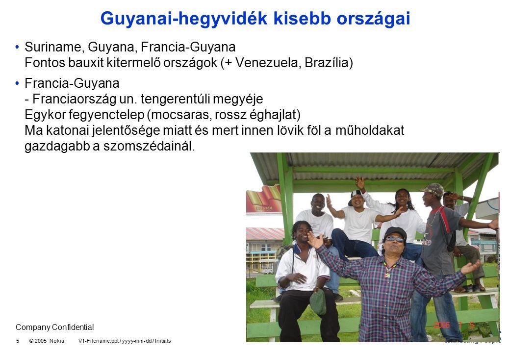Company Confidential 5 © 2005 Nokia V1-Filename.ppt / yyyy-mm-dd / Initials Guyanai-hegyvidék kisebb országai Suriname, Guyana, Francia-Guyana Fontos bauxit kitermelő országok (+ Venezuela, Brazília) Francia-Guyana - Franciaország un.