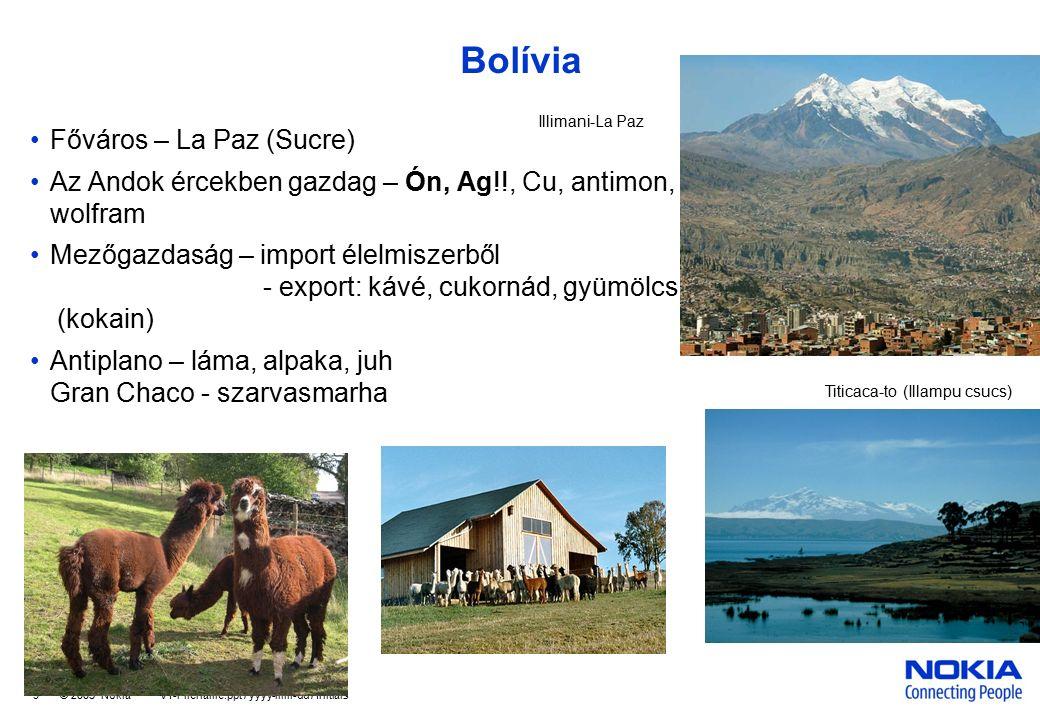 Company Confidential 9 © 2005 Nokia V1-Filename.ppt / yyyy-mm-dd / Initials Bolívia Főváros – La Paz (Sucre) Az Andok ércekben gazdag – Ón, Ag!!, Cu, antimon, wolfram Mezőgazdaság – import élelmiszerből - export: kávé, cukornád, gyümölcs (kokain) Antiplano – láma, alpaka, juh Gran Chaco - szarvasmarha Titicaca-to (Illampu csucs) Illimani-La Paz
