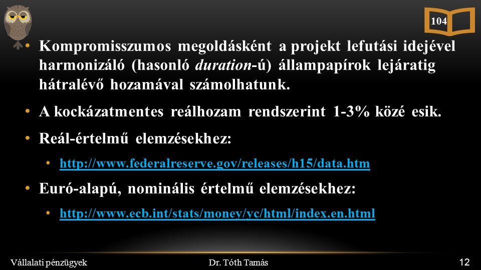 Dr. Tóth Tamás Vállalati pénzügyek 12 Kompromisszumos megoldásként a projekt lefutási idejével harmonizáló (hasonló duration-ú) állampapírok lejáratig