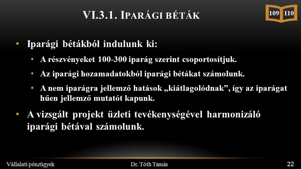 Dr. Tóth Tamás Vállalati pénzügyek 22 Iparági bétákból indulunk ki: A részvényeket 100-300 iparág szerint csoportosítjuk. Az iparági hozamadatokból ip