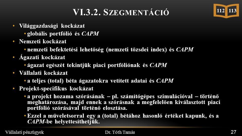 Dr. Tóth Tamás Vállalati pénzügyek 27 VI.3.2.