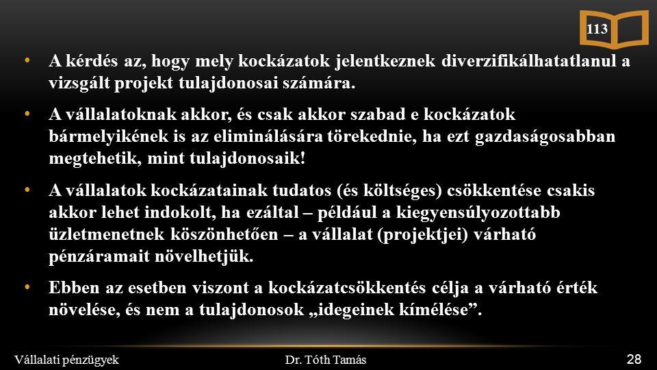 Dr. Tóth Tamás Vállalati pénzügyek 28 A kérdés az, hogy mely kockázatok jelentkeznek diverzifikálhatatlanul a vizsgált projekt tulajdonosai számára. A