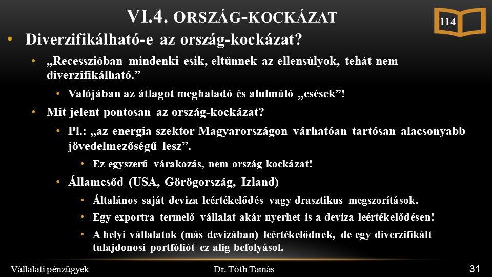 Dr. Tóth Tamás Vállalati pénzügyek 31 VI.4.