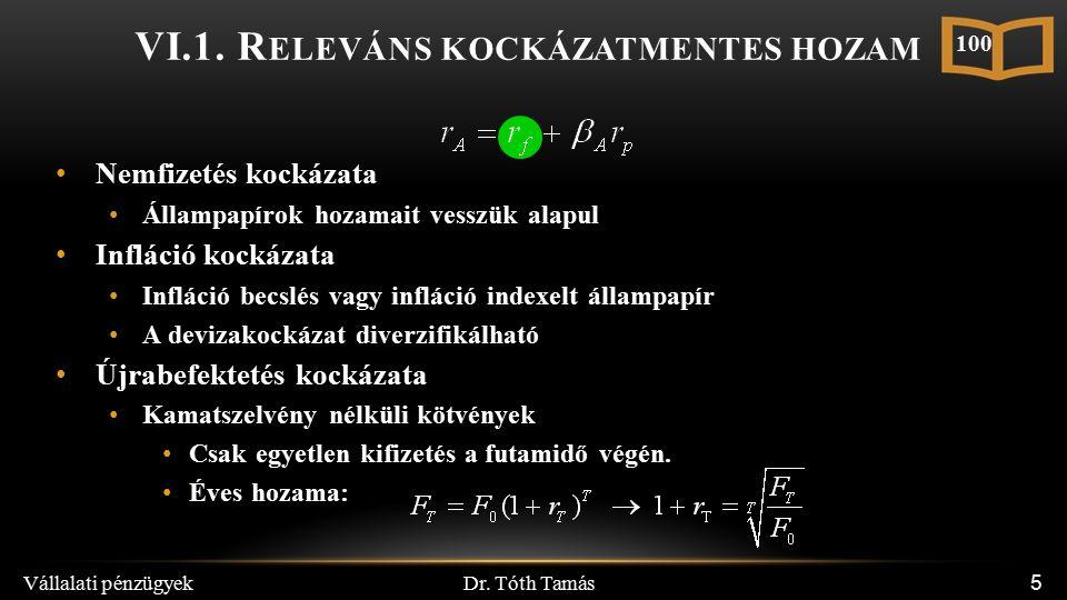 Dr. Tóth Tamás Vállalati pénzügyek 5 VI.1.