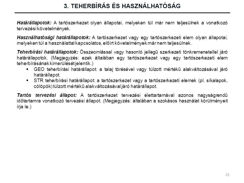 3. TEHERBÍRÁS ÉS HASZNÁLHATÓSÁG Határállapotok: A tartószerkezet olyan állapotai, melyeken túl már nem teljesülnek a vonatkozó tervezési követelmények