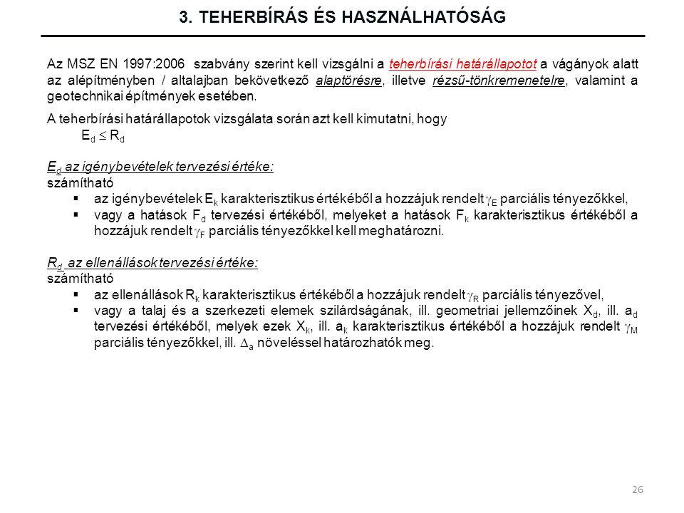 Az MSZ EN 1997:2006 szabvány szerint kell vizsgálni a teherbírási határállapotot a vágányok alatt az alépítményben / altalajban bekövetkező alaptörésr