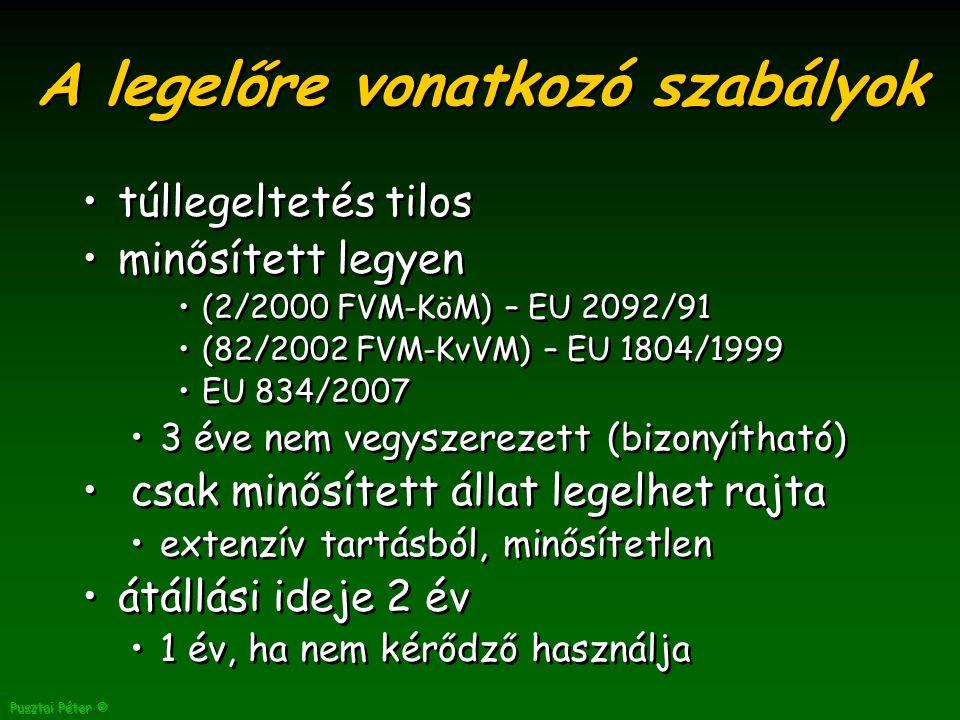 Pusztai Péter © A legelőre vonatkozó szabályok túllegeltetés tilos minősített legyen (2/2000 FVM-KöM) – EU 2092/91 (82/2002 FVM-KvVM) – EU 1804/1999 EU 834/2007 3 éve nem vegyszerezett (bizonyítható) csak minősített állat legelhet rajta extenzív tartásból, minősítetlen átállási ideje 2 év 1 év, ha nem kérődző használja túllegeltetés tilos minősített legyen (2/2000 FVM-KöM) – EU 2092/91 (82/2002 FVM-KvVM) – EU 1804/1999 EU 834/2007 3 éve nem vegyszerezett (bizonyítható) csak minősített állat legelhet rajta extenzív tartásból, minősítetlen átállási ideje 2 év 1 év, ha nem kérődző használja