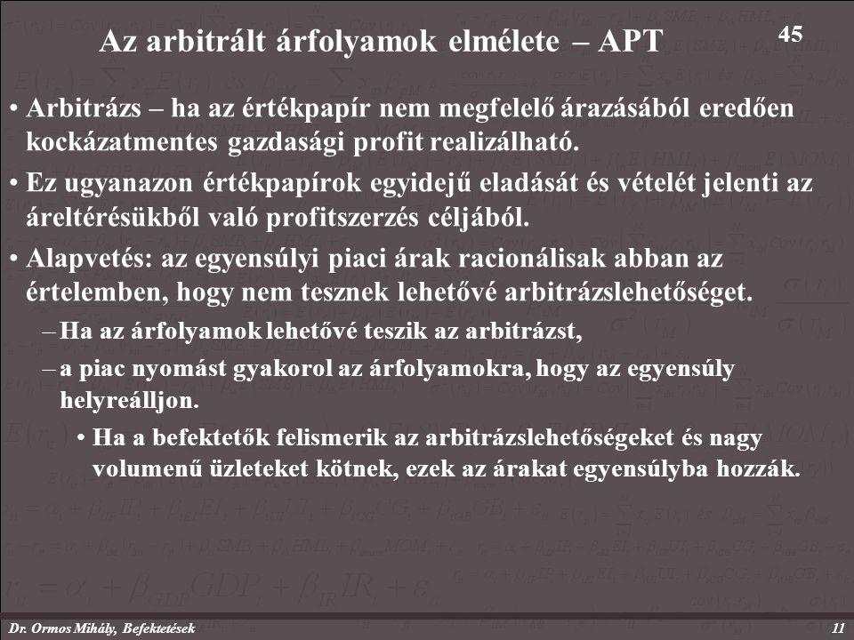 Dr. Ormos Mihály, Befektetések11 Az arbitrált árfolyamok elmélete – APT Arbitrázs – ha az értékpapír nem megfelelő árazásából eredően kockázatmentes g