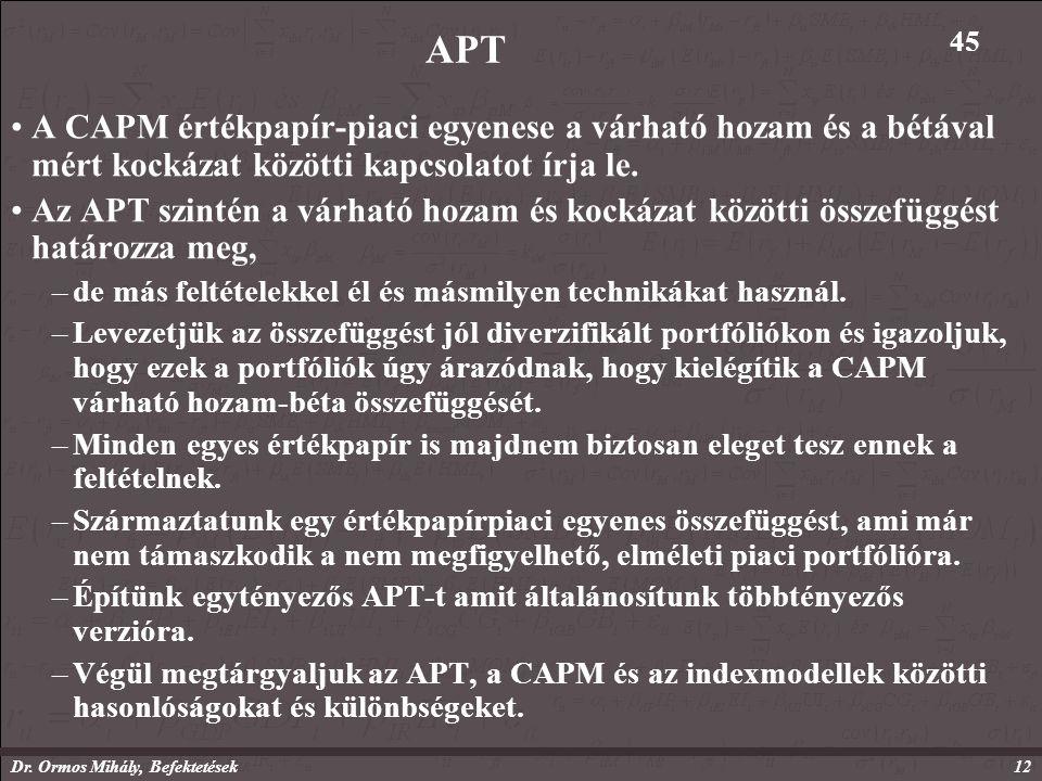 Dr. Ormos Mihály, Befektetések12 APT A CAPM értékpapír-piaci egyenese a várható hozam és a bétával mért kockázat közötti kapcsolatot írja le. Az APT s