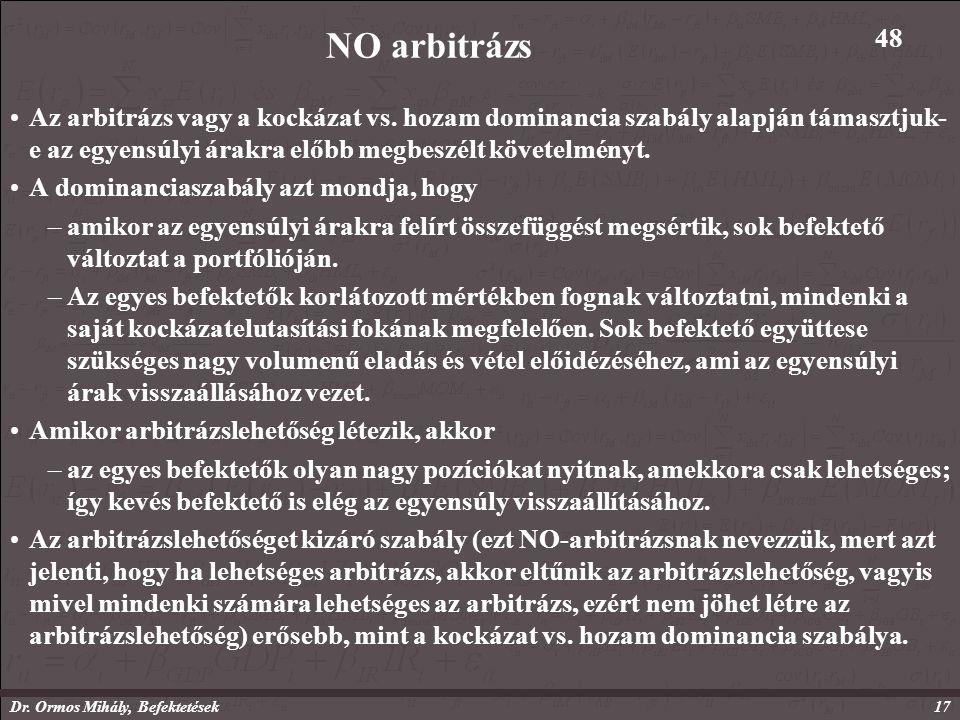 Dr. Ormos Mihály, Befektetések17 NO arbitrázs Az arbitrázs vagy a kockázat vs.