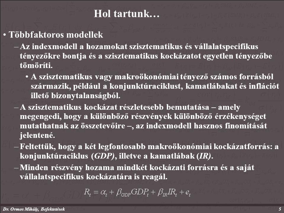 Dr. Ormos Mihály, Befektetések5 Hol tartunk… Többfaktoros modellek –Az indexmodell a hozamokat szisztematikus és vállalatspecifikus tényezőkre bontja