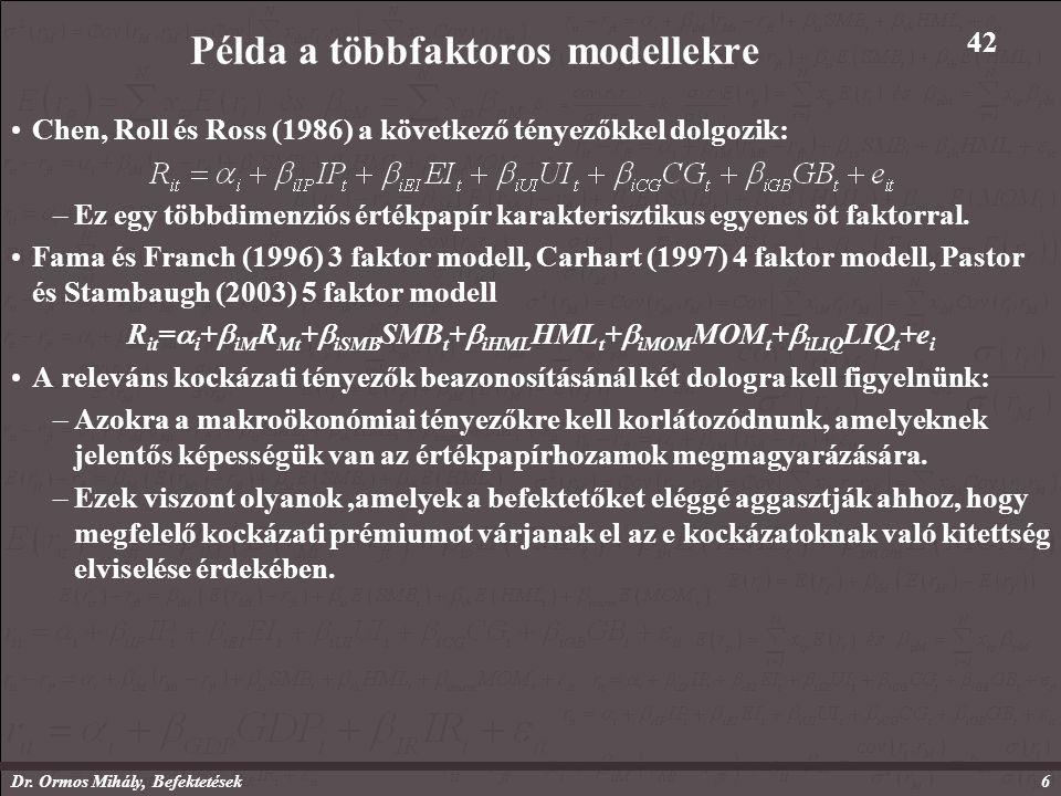 Dr. Ormos Mihály, Befektetések6 Példa a többfaktoros modellekre Chen, Roll és Ross (1986) a következő tényezőkkel dolgozik: –Ez egy többdimenziós érté