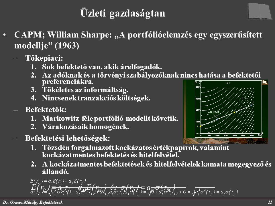 """Dr. Ormos Mihály, Befektetések11 Üzleti gazdaságtan CAPM; William Sharpe: """"A portfólióelemzés egy egyszerűsített modellje"""" (1963) –Tőkepiaci: 1.Sok be"""
