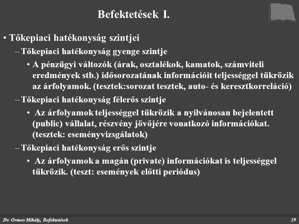 Dr. Ormos Mihály, Befektetések19 Befektetések I. Tőkepiaci hatékonyság szintjei –Tőkepiaci hatékonyság gyenge szintje A pénzügyi változók (árak, oszta