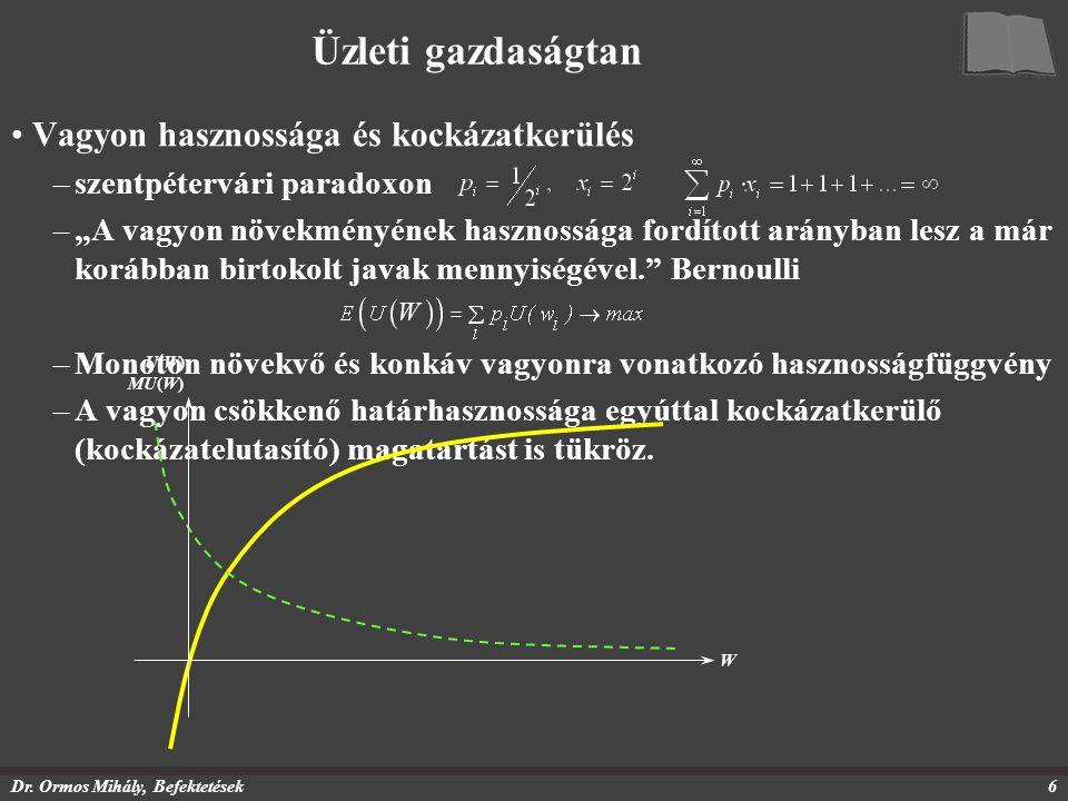 """Dr. Ormos Mihály, Befektetések6 Üzleti gazdaságtan Vagyon hasznossága és kockázatkerülés –szentpétervári paradoxon –""""A vagyon növekményének hasznosság"""