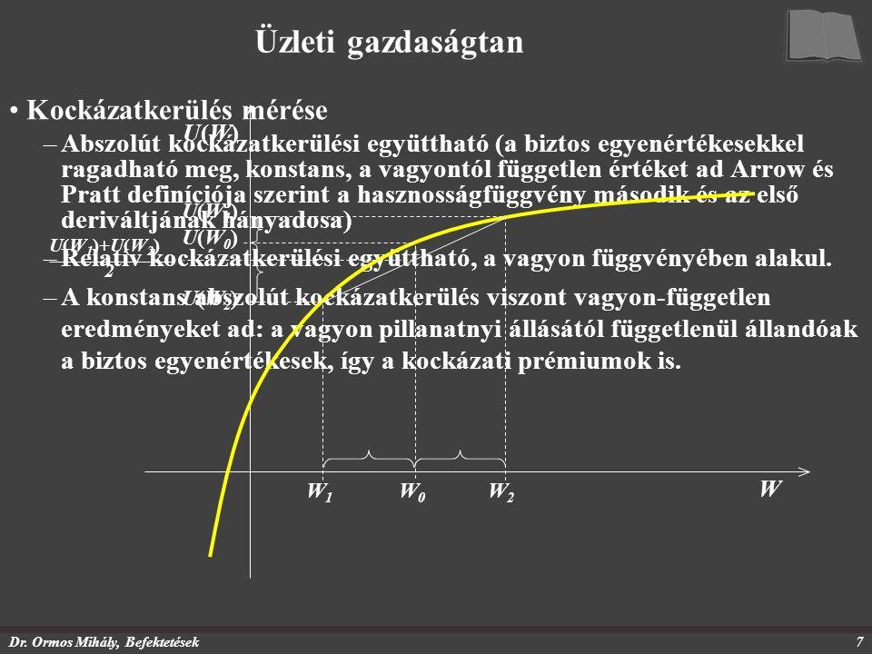 Dr. Ormos Mihály, Befektetések7 Üzleti gazdaságtan Kockázatkerülés mérése –Abszolút kockázatkerülési együttható (a biztos egyenértékesekkel ragadható