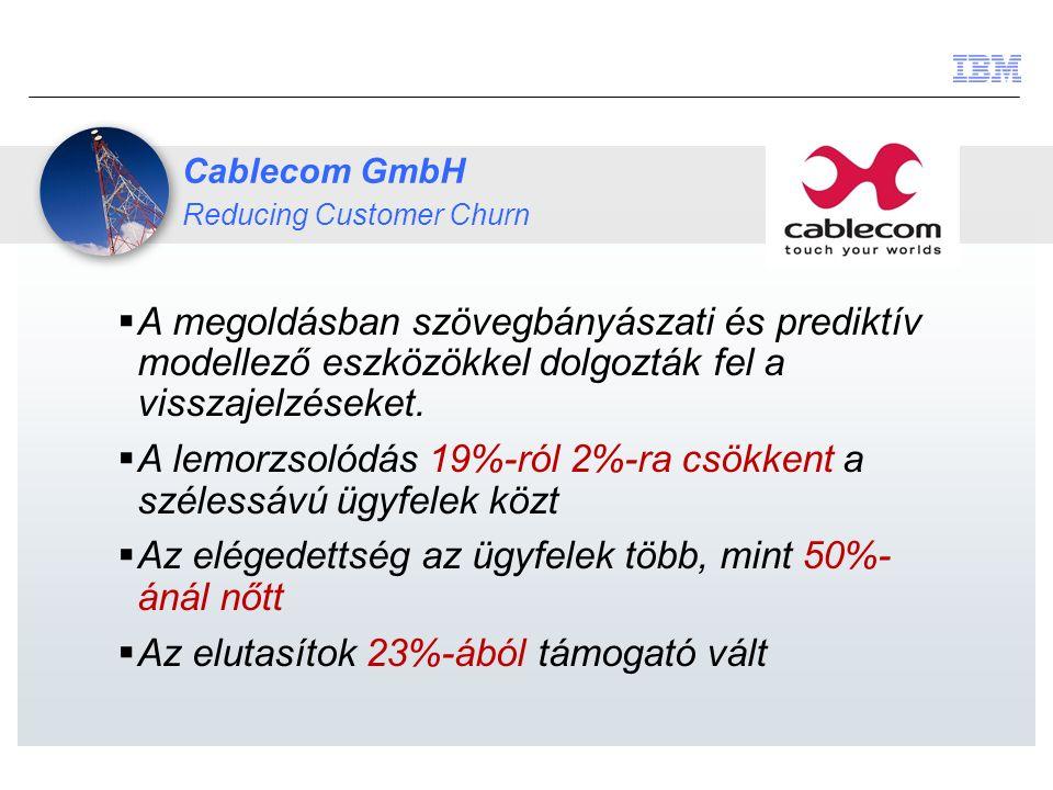 Cablecom GmbH Reducing Customer Churn  A megoldásban szövegbányászati és prediktív modellező eszközökkel dolgozták fel a visszajelzéseket.