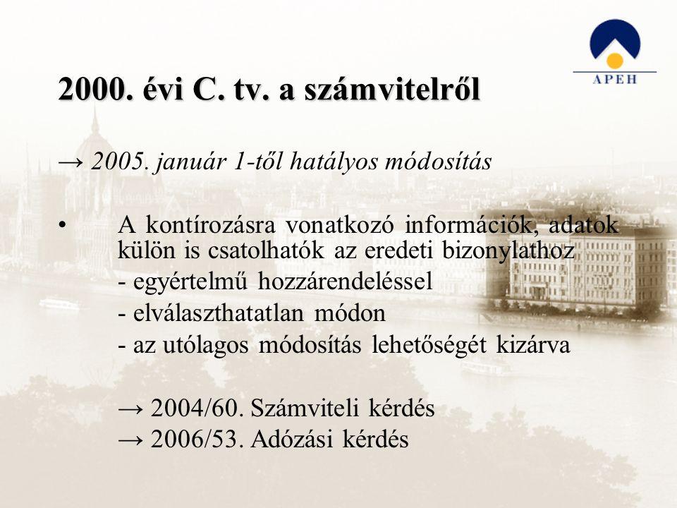2000. évi C. tv. a számvitelről → 2005. január 1-től hatályos módosítás A kontírozásra vonatkozó információk, adatok külön is csatolhatók az eredeti b