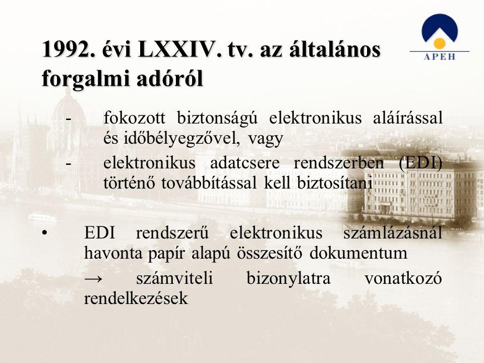 1992. évi LXXIV. tv. az általános forgalmi adóról -fokozott biztonságú elektronikus aláírással és időbélyegzővel, vagy -elektronikus adatcsere rendsze